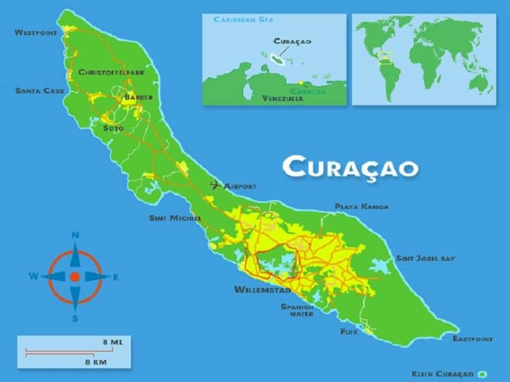 curacao geography world map